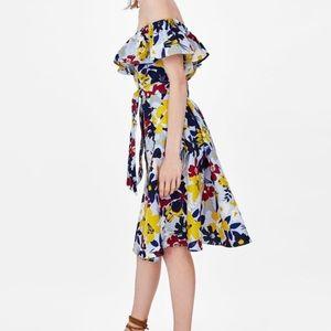 Zara flower print off shoulder dress